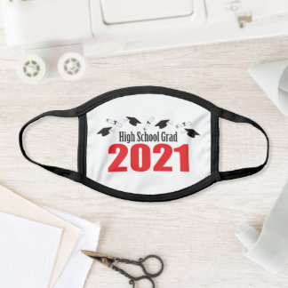High School Grad 20212 Caps And Diplomas (Red) Face Mask