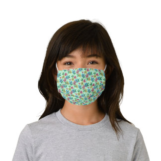Hip Azure Blue Yellow Pink Hot Pink Summer Floral Kids' Cloth Face Mask