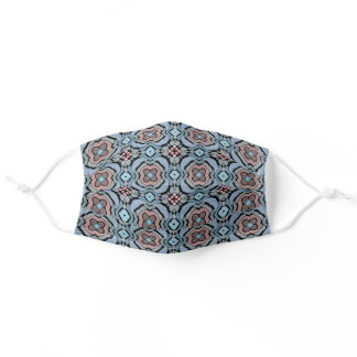 Hip Black Blue Gray Coral Pink Tribal Art Pattern Adult Cloth Face Mask