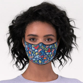 Hip Colorful Abstract Butterflies Pattern On Blue Premium Face Mask