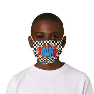 Hip Comic Book Pop Art Red Blue Yellow BAM! Kids' Cloth Face Mask