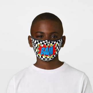 Hip Comic Book Pop Art Red Blue Yellow BAM! Premium Face Mask