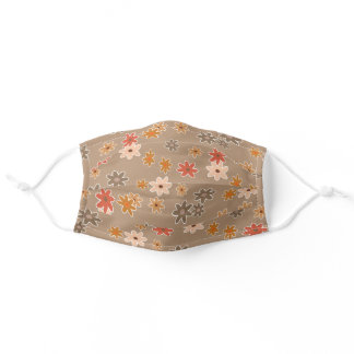 Hip Coral Red Orange Taupe Brown Flower Pattern Adult Cloth Face Mask