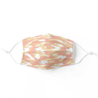 Hip Fun Coral Orange Yellow White Camo Pattern Adult Cloth Face Mask