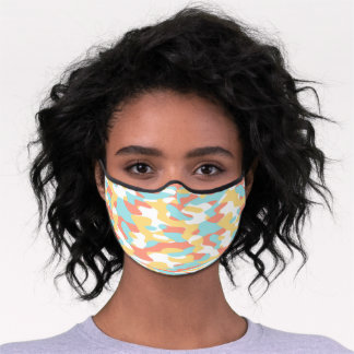 Hip Fun Coral Red Yellow Light Blue Camo Pattern Premium Face Mask