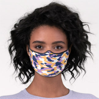 Hip Fun Dark Blue Violet Yellow White Camo Pattern Premium Face Mask