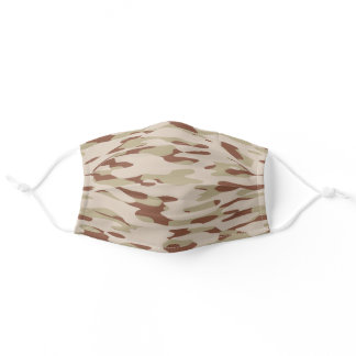 Hip Fun Khaki Green Beige Brown Camo Pattern Adult Cloth Face Mask