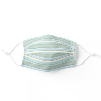 Hip Fun Light Teal Blue Sage Green Stripes Pattern Adult Cloth Face Mask