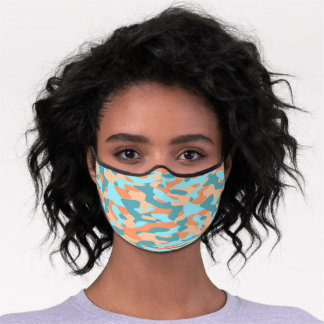 Hip Fun Orange Turquoise Teal Blue Camo Pattern Premium Face Mask