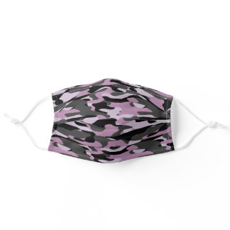 Hip Fun Violet Pink Purple Gray Black Camo Pattern Adult Cloth Face Mask
