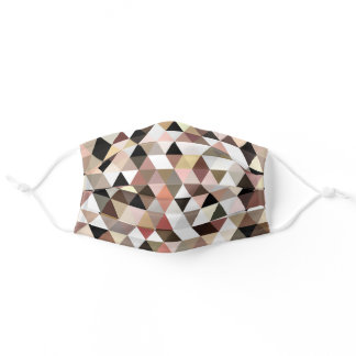 Hip Mauve Taupe Brown Black White Polygon Pattern Adult Cloth Face Mask