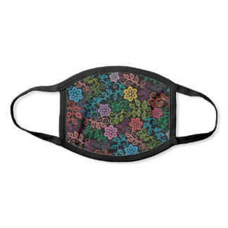 Hip Purple Pink Turquoise Blue Green Flowers Black Face Mask