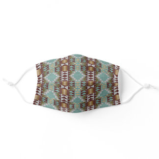 Hip Taupe Brown Teal Blue Tribal Mosaic Pattern Adult Cloth Face Mask