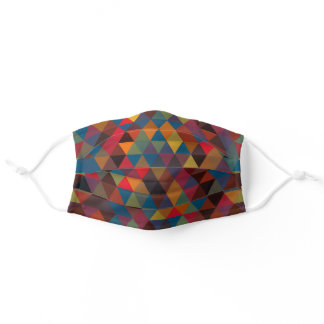 Hip Teal Blue Orange Red Brown Polygon Pattern Adult Cloth Face Mask