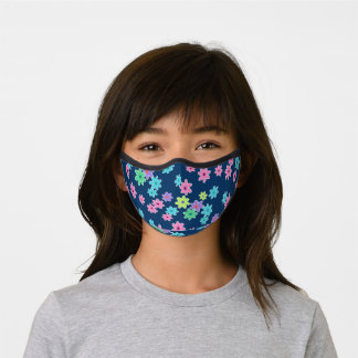 Hip Turquoise Blue Purple Pink Lime Green Flowers Premium Face Mask