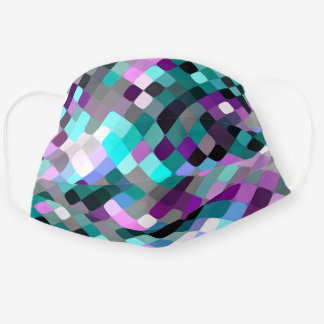Hip Turquoise Teal Blue Pink Purple Mosaic Pattern Cloth Face Mask