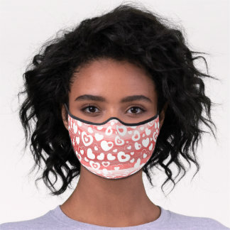 Hip White Heart Pattern On Coral Blush Red Stripes Premium Face Mask