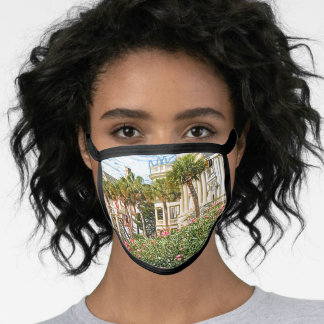 Historic Rainbow Row Urban Charleston 2 Souvenir Face Mask
