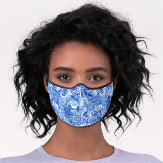Historic Vintage Blue and White Japonaiserie Premium Face Mask
