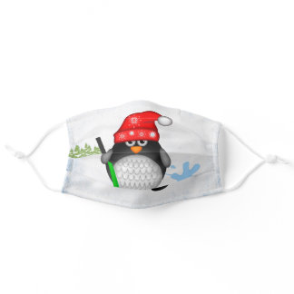 Hockey penguin with puck adult cloth face mask
