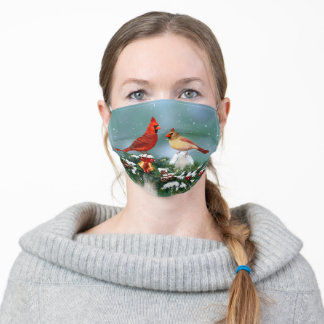 Holiday Cardinals & Christmas Garland Adult Cloth Face Mask