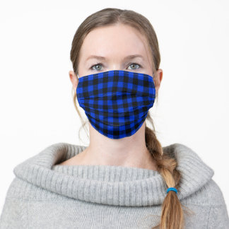 Holiday Christmas  Buffalo Plaid Blue black Adult Cloth Face Mask