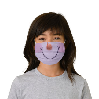 Holiday girly snowman snowgirl kids' cloth face mask
