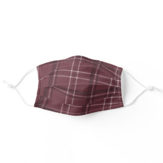 Holiday plaid maroon adult cloth face mask