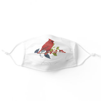 Holiday Red Cardinal Bird Watercolor Holly Adult Cloth Face Mask