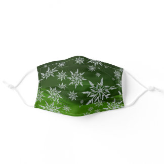 Holiday Snowflakes on Green Adult Cloth Face Mask
