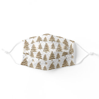 Holiday Sparkle - Brown/Gold Christmas Tree Adult Cloth Face Mask