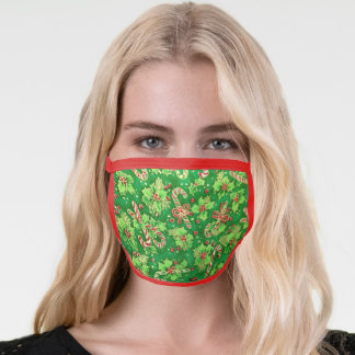 Holly Leaves and Candy Canes Christmas print Face Mask