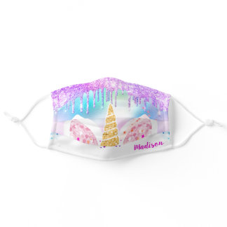 Holographic Gold Glitter drips Unicorn Custom Name Adult Cloth Face Mask