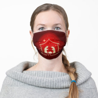 Holy Night Christmas Nativity Red Adult Cloth Face Mask