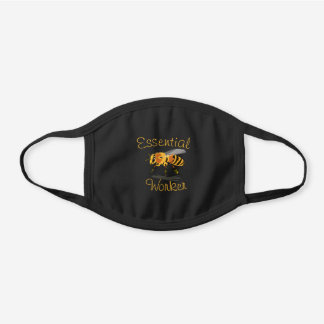 Honey Bee Essential Worker Save the Bees Black Cotton Face Mask