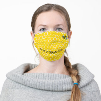 Honeycomb With Bee and Text Adult Cloth Face Mask