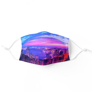 Hong Kong City Skyline At Dusk Night Adult Cloth Face Mask