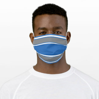 Honolulu Blue, Silver and White Sports Stripe Adult Cloth Face Mask