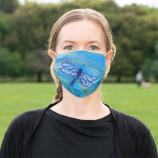 Hopeful Blue Dragonfly Spirit Watercolor Adult Cloth Face Mask