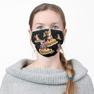 hot dog cat invasion adult cloth face mask