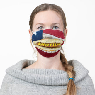 hot dog on American flag Adult Cloth Face Mask