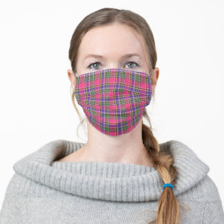 Hot Pink and Purple Vintage Plaid Pattern Adult Cloth Face Mask
