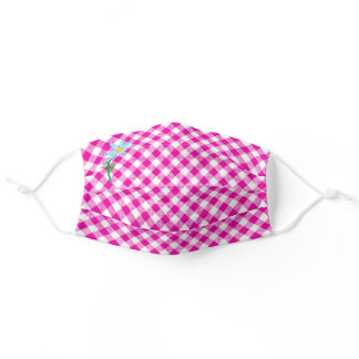 Hot Pink and White Check with Blue Flower Gingham Adult Cloth Face Mask