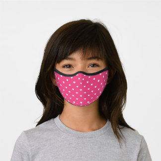 Hot Pink and White Heart Pattern Premium Face Mask