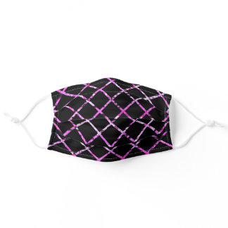 Hot Pink & Black Diamond Checked Adult Cloth Face Mask