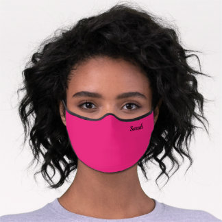 Hot Pink Custom Name Monogram Premium Face Mask