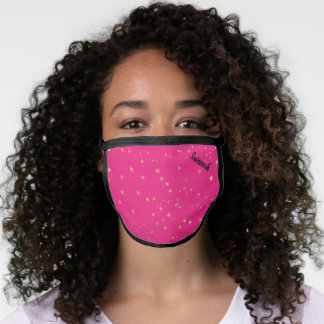 Hot Pink Gold Stars Personalized Face Mask