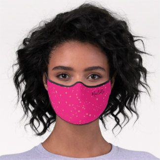 Hot Pink Gold Stars Personalized Name Monogram Premium Face Mask