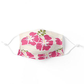 Hot Pink Hibiscus Adult Cloth Face Mask