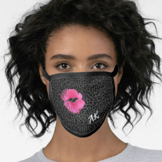 Hot Pink Lipgloss Kiss Black Leopard With Monogram Face Mask